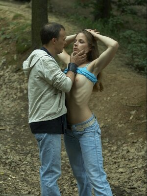 Whore with sticking out ribs is tied up to a tree by pervert in the forest