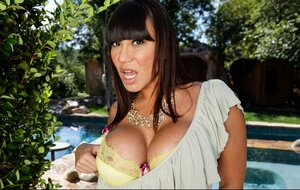 Oriental MILF doesn't take off bra even though lads can see how large her titties are