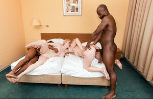 A pair of old blonde whores realize their interracial double penetration dream