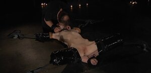 Toy and butt plug help strange guy dominate over tied up redhead