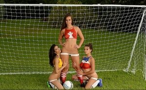 Football game makes three comely female friend desirous to have lesbian encounter