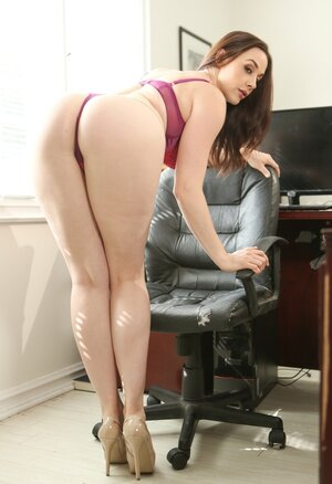 Office cutie has finished her working shift so now it's time to strip