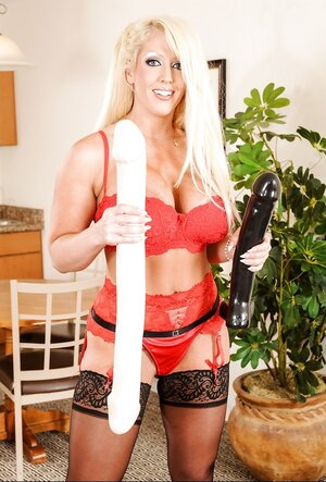 Buxom blonde Soccer mom takes turn in giving head and riding several big dildos