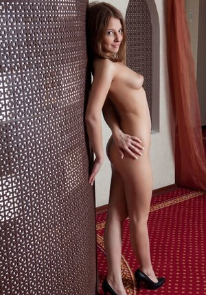 Good small-tittied Russian young and fresh dame Nikia A sheepishly bares her body