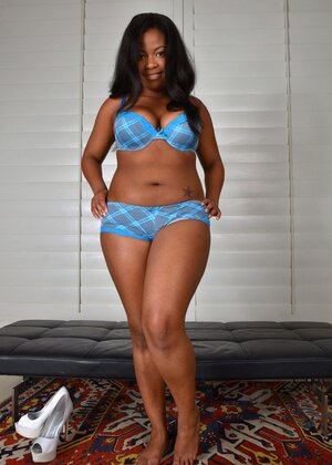 Ebony Soccer mom Monique Symone in blue panties flaunts her legs and additionally twat