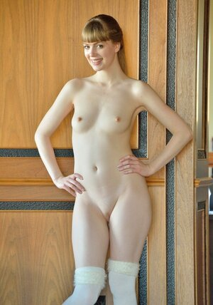 Erotically attractive colleen has pale body and moreover sensitive slit that she toys with pink sextoy