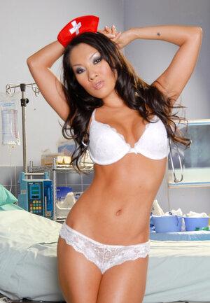 Asian Nurse Asa Akira deletes red nurse suit leaving white lingerie on