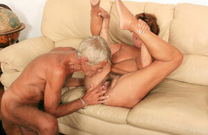 Intense aged woman invites old neighbor to be carnal with her hairy fuck hole