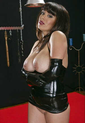 Latina domme Sienna West in latex outfit is waiting for a man to dominate